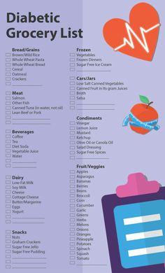 Diabetic Grocery List, Diabetic Food Chart, Diabetic Tips, Diabetic Meal Plan, Diabetic Snacks, Diet Food List, Food Lists, Diabetes Care, Diabetes Diet