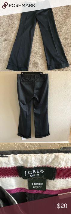 J. Crew City Fit Stretch Slacks EUC J. Crew slacks in dark gray with wide cuff at bottom. J. Crew Pants Trousers