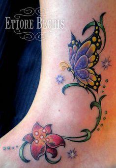 realistic butterfly tatoo | fiore,butterfly,flower,tattoo,tatuaggio, orchidea,realistico,realistic ...