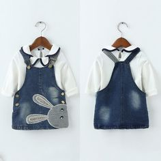 Qianquhui New 2 PCS/Set Summer/Autumn Baby Girls Denim Dress Embroidered Sling Kids Clothes Sets Lace T shirts+Jeans Dress Set Baby Girl Clothes Sale, Baby Girl Dresses, Baby Dress, Baby Girls, Girls Denim Dress, Jeans Dress, Dress Suits, Outfit Sets, Kids Outfits