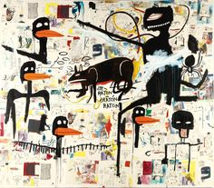 Jean-Michel Basquiat, Tenor,  1985, acrylic, oilstick and paper collage on canvas, 100 x 114 inches