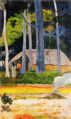 Cabin Under the Trees by Paul Gauguin in oil on canvas, done in Now in a private collection. Find a fine art print of this Paul Gauguin painting. Paul Gauguin, Henri Matisse, Kandinsky, Pablo Picasso, Kunst Online, Impressionist Artists, Pierre Auguste Renoir, Art Graphique, Gustav Klimt
