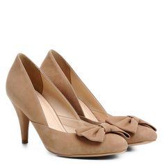 2c91e3f4dd Scarpin Couro Shoestock Salto Alto Laço - Nude