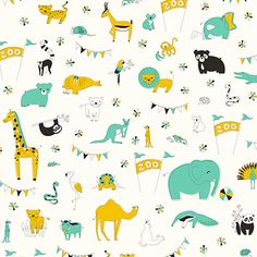 Let's Go To The Zoo in Green, Large. Zoo Collection by Liz Ablashi.