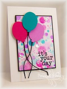 card with balloons ballon on a string  brithday - Bokeh #balloon