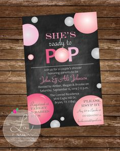 Ready to Pop-themed baby shower invitation. Comes in all colors!