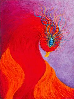 """En Fuego"" Phoenix. Fantasy mythical bird of fire. Original palette knife painting, oil on canvas. Karen Balon © all rights reserved"