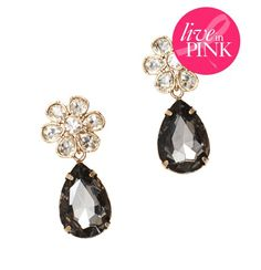 Live In Pink Crystal Flower Earrings, $34.50  #LOFTPink 25% of the full-price purchase of this item will go directly to The Breast Cancer Research Foundation