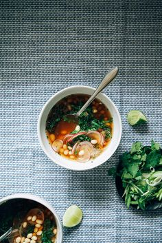 SPRING GREENS & BEAN SOUP WITH GINGER-GREEN TEA BROTH