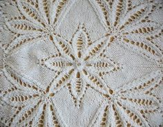 Представляем очень красивый узор, вязаный спицами от центра. Таким образом можно связать как салфетку, так и использовать этот узор например для переда и спинки пуловера. На схеме показана 1/4 часть…