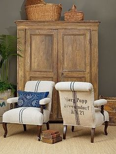 redo at Rebecca Lukens Designs: My chair reborn in grain sack fabric! I'm sure someone will laugh at the current trends. Beautiful Furniture, Decor, Grain Sack, Furniture, French Decor, Chair, Vintage Chairs, Upholstery, Home Decor