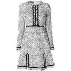Giambattista Valli bouclé tweed flared dress (12,015 SAR) ❤ liked on Polyvore featuring dresses, black, tweed dress, giambattista valli dress, boucle dress, flare dress and flared dresses