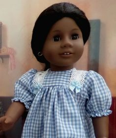 Pacific Blue Gingham Doll Nightgown - American Girl Doll Clothes - AG Doll Clothes - 18 Inch Doll Clothes -Doll Accessories - 7005