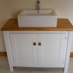 White Vanity Unit with Traditional Top and Countertop Sink