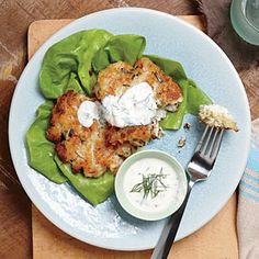 Crab Cakes with Buttermilk Ranch Dressing - Quick and Easy Fish and Shellfish Recipes for Dinner Tonight - Cooking Light Shellfish Recipes, Seafood Recipes, Seafood Meals, Dinner Recipes, Grilled Seafood, Seafood Dishes, Fish Dishes, Main Dishes, Buttermilk Ranch Dressing