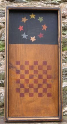 OOAK Folk Art Wooden Checker Board Hand Painted Framed Distressed Wood Game USA