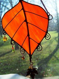 Autumn Birch Leaf Suncatcher with beads & wire by Glitz & Grandeur