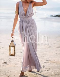 Light Purple Deep V Neck Maxi Dress 20.99