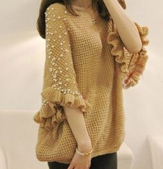 2013 New Fashion Pure Handmade Pearl Beaded Middle sweater knit