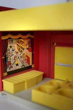 """Literally a toy movie theatre, part of a Fisher Price """"Little People"""" Playset 1970s Childhood, Childhood Toys, Childhood Memories, Fisher Price Toys, Vintage Fisher Price, Retro Toys, Vintage Toys, Brother Quotes, Daughter Quotes"""