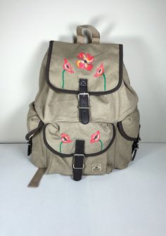 Everest Canvas Rucksack Backpack Hand Painted by GulfLifebyNichole