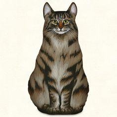 Maine Coon Cat Silk Screened Doorstop Pillow