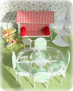 Dollhouse patio set, but I love the styling of it for a real one!