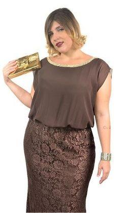 Vestidos Longos de Renda Plus Size Para Formatura Marrom 10