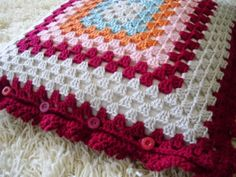 Crocheted Granny Square Pillow Cover by onegirl4boys on Etsy, $35.00