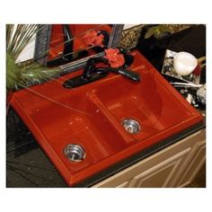 Red Kitchen Sink Red kitchen sink for the home pinterest red kitchen sinks and red sink love workwithnaturefo