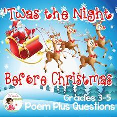 Christmas Twas the Night Before Christmas Christmas Poems, Christmas Eve, Teacher Pay Teachers, Teacher Resources, Christmas Language Arts, Twas The Night, The Night Before Christmas, Teacher Newsletter, School Days