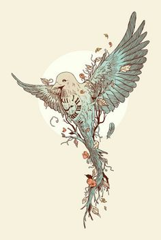 Time pigeon surreal - tattoo idea