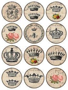 coronas Vintage para imprimir hoja de Collage Digital por 300dpi