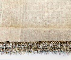 05P-BeigGldMltiCMtlcClscJckt-7 Boucle Jacket, Tweed Jacket, Chanel Jacket, Sheer Chiffon, Fringe Trim, Summer Collection