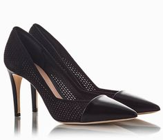 784f9dece445 Emporio Armani Black suede mesh with pointy leather cap-toe stiletto pumps