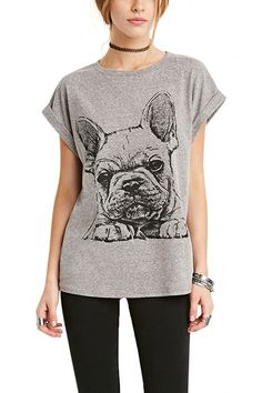 Dog Print Short Sleeve T-shirt In Grey - US$15.95 -YOINS