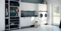 Utility rooms, or even just a laundry cupboard, are great to keep your laundry appliances out of site, giving your kitchen a clean and sleek look. Laundry Appliances, Home Appliances, Laundry Cupboard, New Zealand Houses, Yellow Houses, Laundry Room Design, Storage, Kitchen, Furniture