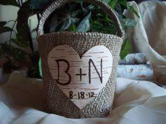 Personalized rustic burlap wedding basket with by Northwoodswood, $26.00