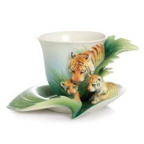 FRANZ PORCELAIN Safari Jungle Beauties Tiger/Babies Cup Saucer - Cost $165.00  -  please click image for more info...