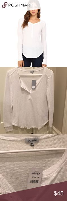 NWT splendid white Henley sz S Brand new with tags splendid Henley in sz small. True to size. Very cute. Splendid Tops Tees - Long Sleeve