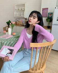 Colourful Outfits, Retro Outfits, Cute Casual Outfits, Girl Outfits, Ulzzang Korean Girl, Cute Korean Girl, Japanese Outfits, Korean Outfits, Uzzlang Girl