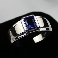 mens wedding bads blue saphire | Size 12 MEN'S 925 Silver Filled Oblong Blue Sapphire Wedding Ring ...