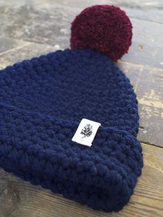 'Big Bob Original' Navy / Burgundy Bobble chunky knit beanie hat with bobble ethically handmade in Romania for The Level Collective mens beanie, womens beanie #beanie #handmade #ethical