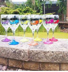 Handpainted VW Camper Van wine glasses