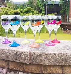 Handpainted VW Camper Van wine glasses