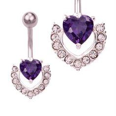 Piercing de ombligo con colgante de corazón púrpura