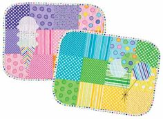 Dot. Dot. Dash-! Placemats Kit: These two colorful placemats with simple appliqué will delight at the dining table. Kit includes Dot Dot Dash by Me and My Sister Designs for Moda Fabrics for two placemat tops and binding plus the pattern. #modafabrics