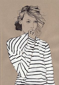 striped boatneck tees and loose wavy bun