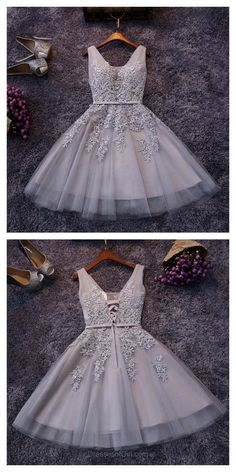2017 Sliver Prom Dresses, Applique Party Dresses,2017 Short Tulle Homecoming Dresses #SIMIBridal #promdresses #homecomingdresses