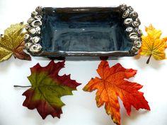 Blue Handmade Ceramic Bread Pan Rustic by WildCrowFarmPottery, $68.00